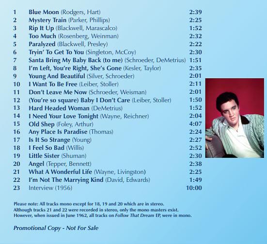 Elvis UK - COMPLIMENTARY CD (back cover)